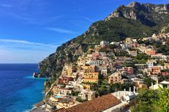 Positano, Amalfi Coast. Hill-side Colorful buildings overlooking the Mediterranean Sea Stock Image