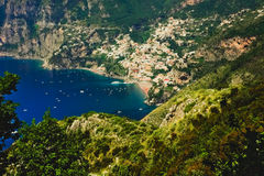 Positano,amalfi coast, italy. View of Positano from the path of the gods with the tiny beach and colorful houses, located on the rock, Amalfi coast, Italy Stock Images