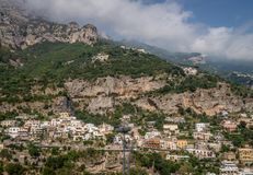 Positano on the Amalfi coast in Italy. Wide view of Positano over looking the coastline in Italy Royalty Free Stock Photography