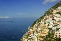Positano on the Amalfi Coast. The jewel in the crown of the Amalfi coast is Positano which clings precariously to the side of the mountain royalty free stock images