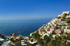 Positano on the Amalfi Coast. The jewel in the crown of the Amalfi coast is Positano which clings precariously to the side of a mountain. Looking down through royalty free stock photography