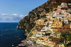 Positano on Amalfi Coast near Naples in Italy. Beach streets and colorful houses on the hill in Positano on Sorrento Peninsula in South Italy stock photos