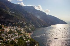 Positano on Amalfi Coast near Naples in Italy. Posi on Sorrento Peninsula in South Italy Stock Image