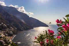 Positano on Amalfi Coast near Naples in Italy. Posi on Sorrento Peninsula in South Italy Stock Photos