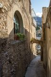 Positano on Amalfi Coast near Naples in Italy. Posi on Sorrento Peninsula in South Italy Royalty Free Stock Images