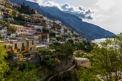 Positano on Amalfi Coast near Naples in Italy. Posi on Sorrento Peninsula in South Italy Stock Photo