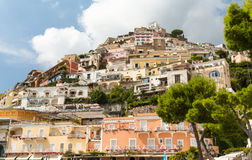 Positano on the Amalfi Coast. A view looking back up from the front at Positano Royalty Free Stock Photo