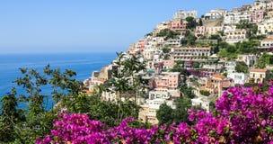 Positano Amalfi kust, Italien Arkivbild