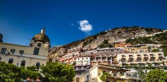 Positano - Amalfi kust, Salerno, Campania, Italien Arkivbilder
