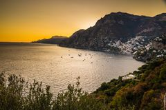 Positano, Amalfi wybrzeże -, Salerno, Campania, Włochy fotografia stock