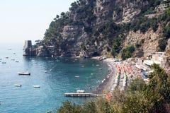 Positano beach. The small beach of positano in italy Stock Images