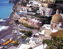 Positano beach and town, Italy. Stock Photography