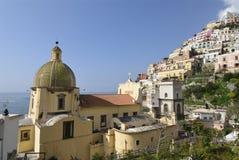 Positano. Church of Santa Maria Assunta, Positano, Amalfi Coast, Italy Stock Photo