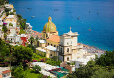 Positano Church. A view from the top of the Positano village at Italy Royalty Free Stock Photography