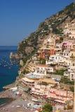 Positano Cliffside. Mediterranean sea meets cliffside buildings in Positano, Italy royalty free stock photos