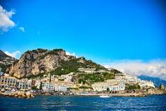 Positano, costa de Amalfi, Campania, Italia Visión hermosa imagen de archivo libre de regalías