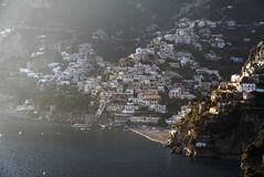 Positano Costiera Amalfitana. Detail of the city of Positano and its beach on a hill on Costiera Amalfitana and the Mediterranean Sea Royalty Free Stock Photos