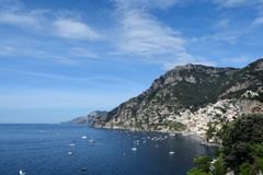 Positano from East. The Itailian town of Positano in the morning from the east side of the town Royalty Free Stock Image