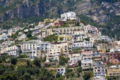Positano, italy. View of Positano from the boat, italian amalfi coast royalty free stock images