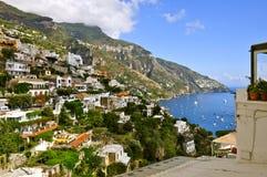 Positano, Italy. Hill View of Positano Village and Bay; Amalfi Coast, Italy Stock Photography