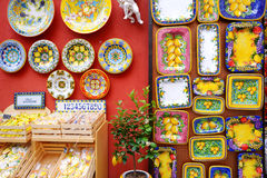 POSITANO, ITALY - MAY 28, 2015: Typical ceramics sold in beautiful town of Positano Royalty Free Stock Images
