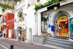 POSITANO, ITALY - MAY 28, 2015: Typical medieval narrow street in beautiful town of Positano Royalty Free Stock Image