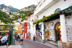 POSITANO, ITALY - MAY 28, 2015: Typical medieval narrow street in beautiful town of Positano Stock Images