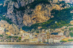 Positano with its colorful buildings and cliffs. stock photo