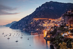 Positano lit by street lights Royalty Free Stock Photos