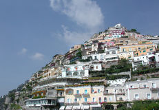 Positano, Naples, Italy. The famous town of Positano seen from the beach Stock Photos