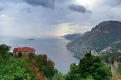 Positano from Nocelle on a cloudy afternoon. A view of Positano from Nocelle on a cloudy afternoon Royalty Free Stock Image