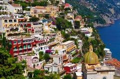 Positano op de Amalfi kust Stock Foto