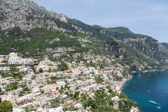 Positano Over Blue Bay Stock Photography
