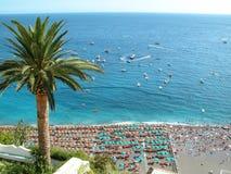 Positano Palms. View of Positano Beach, Southern Italy Stock Photo
