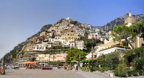 Positano panorama. Positano city viewfrom the beach, on the Amalfi Coast of Italy Stock Images