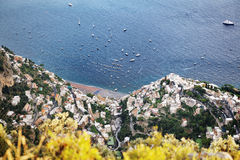 Positano panoramic view from above, Amalfi Coast, Italy Royalty Free Stock Images