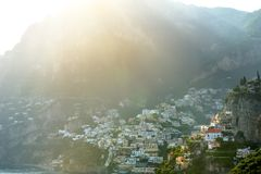Positano panoramic view in a sunny day, Amalfi coast Royalty Free Stock Photos