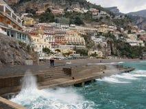 Positano - pilier en hiver photographie stock libre de droits