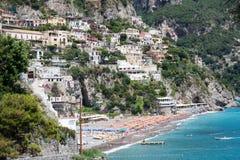 Positano plaża, Amalfi wybrzeże, Włochy Zdjęcie Stock