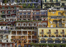 Positano's buildings seen from the sea. Royalty Free Stock Photography