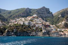 Positano seen from the sea on Amalfi Coast in the region Campania, Stock Images