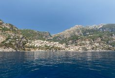 Positano seen from the sea on Amalfi Coast in the region Campania, Royalty Free Stock Photos