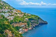 Positano stad, Amalfi kust, Italien Arkivfoto