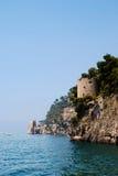 Positano Strand während des Sommers, Neapel, Italien Lizenzfreies Stockbild