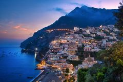 Positano sunset. Photo of the landscape of Positano at the sunset time Stock Photography