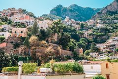 Positano town colorful building in Italy. Positano town colorful buildings in Italy royalty free stock photos