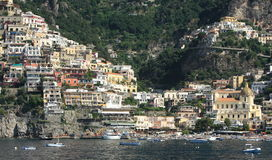 Positano town and harbor. Scenic view of Positano town and harbor viewed from sea, Amalfi coast, Campania, Italy Royalty Free Stock Photo
