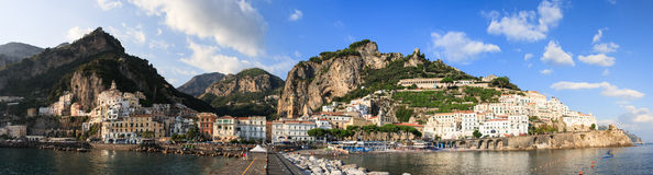 Positano Town. Panoramic Positano Town and coastline from the bay, Amalfi Coast, Italy Royalty Free Stock Images