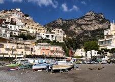 Positano, un pueblo y el comune en el Amalfi costean, en Campania, Italia fotografía de archivo libre de regalías