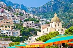 Positano view. Positano is a village and comune on the Amalfi Coast (Costiera Amalfitana), in Campania, Italy Royalty Free Stock Photos